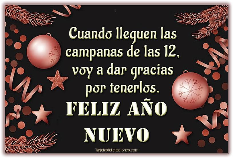 Tarjetas con Mensajes para felicitar Año Nuevo